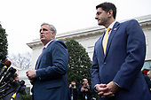 Outgoing Republican Speaker of The House of Representatives Paul Ryan, Republican of Wisconsin, right, and incoming House Minority Leader Kevin McCarthy, Republican of California, speak to reporters outside the White House after meeting with United States President Donald Trump about efforts to fund the Government in Washington, DC on December 20, 2018.  Credit: Alex Edelman / CNP