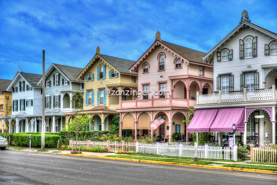 Cape May  NJ,  Atlantic Ocean, Victorian buildings, Houses, Shops Restaurants; Architecture; Doors; House; Residence