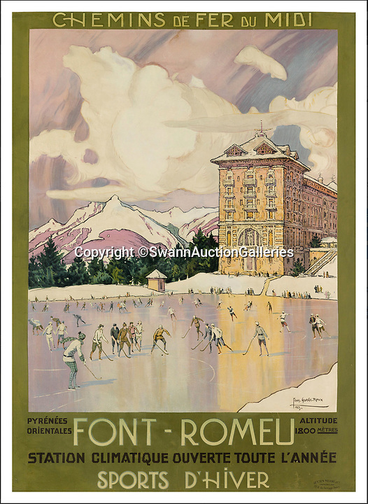 BNPS.co.uk (01202)558833Pic:  SwannAuctionGalleries/BNPS<br /> <br /> Font Romeo in France.<br /> <br /> A stunning collection of vintage ski posters depicting the halcyon days of European winter holidays has emerged for sale for £70,000. ($90,000)<br /> <br /> The superb selection features early lithograph prints of advertising posters for glamorous resorts including Davos and Chamonix.<br /> <br /> The earliest posters in the sale date from the turn of the 20th century, with the most recent examples from the 1950s.<br /> <br /> Sixty-two posters, which range in value from a few hundred pounds to £5,000, are being sold by Swann Galleries, who are based in New York.