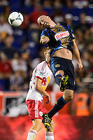 Conor Casey (6) of the Philadelphia Union. The New York Red Bulls and the Philadelphia Union played to a 0-0 tie during a Major League Soccer (MLS) match at Red Bull Arena in Harrison, NJ, on August 17, 2013.