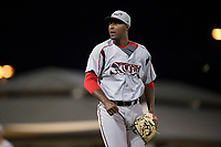 Lake Elsinore Storm relief pitcher Dauris Valdez (32) after getting the last out of a California League game against the Modesto Nuts at John Thurman Field on May 12, 2018 in Modesto, California. Lake Elsinore defeated Modesto 4-1. (Zachary Lucy/Four Seam Images)