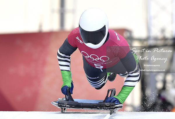 Simidele Adeagbo (NGR). Skeleton training. Alpensia sliding centrePyeongchang2018 winter Olympics. Alpensia. Republic of Korea. 13/02/2018. ~ MANDATORY CREDIT Garry Bowden/SIPPA - NO UNAUTHORISED USE - +44 7837 394578