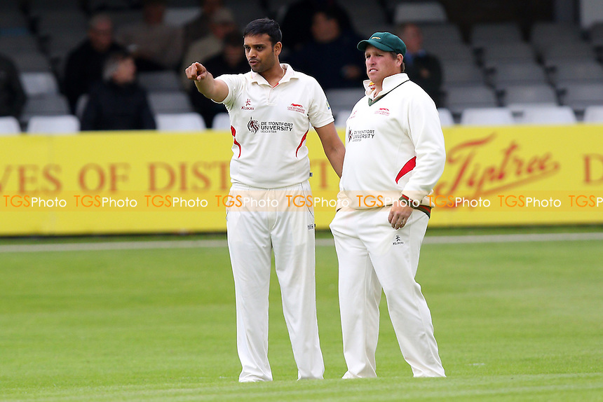 Jigar Naik (L) of Leicestershire in conversation with skipper Mark Cosgrove - Essex CCC vs Leicestershire CCC - LV County Championship Division Two Cricket at the Essex County Ground, Chelmsford, Essex - 31/05/15 - MANDATORY CREDIT: Gavin Ellis/TGSPHOTO - Self billing applies where appropriate - contact@tgsphoto.co.uk - NO UNPAID USE