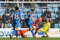 Josh Rees of Gillingham takes a shot at the Shrewsbury Town goal during Gillingham vs Shrewsbury Town, Sky Bet EFL League 1 Football at The Medway Priestfield Stadium on 13th April 2019