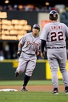 July 5, 2008:  The Detroit Tigers' Miguel Cabrera rounds third base after hitting a solo homer off Seattle Mariners starter R.A. Dickey at Safeco Field in Seattle, Washington.
