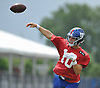 Eli Manning #10, New York Giants quarterback, throws a pass during training camp at Quest Diagnostics Training Center in East Rutherford, NJ on Friday, Aug. 3, 2018.