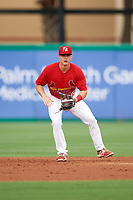 Palm Beach Cardinals shortstop Andy Young (15) during a game against the Charlotte Stone Crabs on July 23, 2017 at Roger Dean Stadium in Palm Beach, Florida.  Charlotte defeated Palm Beach 3-0.  (Mike Janes/Four Seam Images)