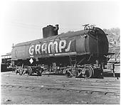 3/4 view of GRAMPS UTLX 11049 tank car at Alamosa.<br /> D&amp;RGW  Alamosa, CO