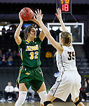 SIOUX FALLS, SD: MARCH 4: Reilly Jacobson #32 of North Dakota State looks past IUPUI defender Allex Brown #35 on March 4, 2017 during the Summit League Basketball Championship at the Denny Sanford Premier Center in Sioux Falls, SD. (Photo by Dick Carlson/Inertia)