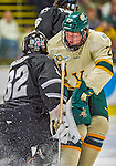 16 November 2013: University of Vermont Catamount Defenseman Nick Luukko, a Junior from West Chester, PA, in action against the Providence College Friars at Gutterson Fieldhouse in Burlington, Vermont. The Friars shut out the Catamounts to sweep the 2-game weekend Hockey East Series. Mandatory Credit: Ed Wolfstein Photo *** RAW (NEF) Image File Available ***