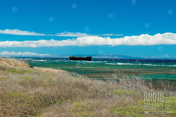 Rusting Freighter Run Aground Off Lanai's Shipewreck Beach, Lanai, Hawaii