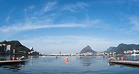 Rio de Janeiro. BRAZIL.   NZL M1X, Mahe DRYSDALE at the start for his heat.2016 Olympic Rowing Regatta. Lagoa Stadium,<br /> Copacabana,  &ldquo;Olympic Summer Games&rdquo;<br /> Rodrigo de Freitas Lagoon, Lagoa.    Saturday  06/08/2016 <br /> <br /> [Mandatory Credit; Peter SPURRIER/Intersport Images]