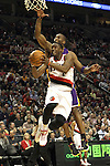 04/08/11--Portland Trailblazers' Wesley Matthews makes a lay-up by L.A. Lakers' Kobe Bryant in the first half at the Rose Garden..Photo by Jaime Valdez........................................