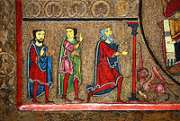 Romanesque Altar Front of Cardet<br /> <br /> Thirteenth century paint and metal relief on wood from a church of Santa Maria of Cardet, Vall de Boi, Alta Ribagorca, Spain<br /> <br /> Acquired by the National Art Museum of Catalonia, Barcelona 1932. Ref: MNAC 3903.<br /> <br /> This Romanesque painted altar front is dedicated to the Nativity. Bottom left is a painting of the Three Kings.