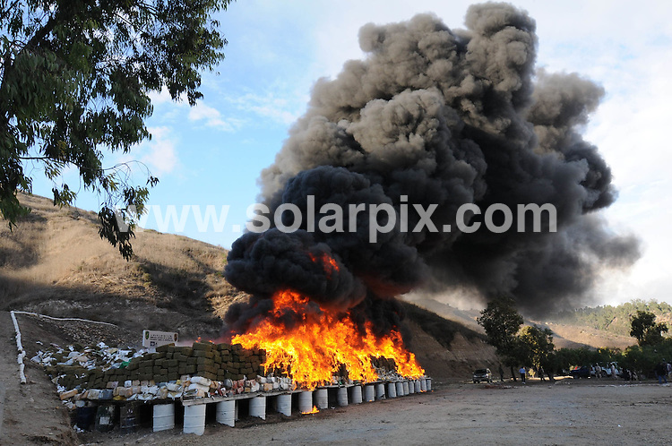 .**ALL ROUND PICTURES FROM SOLARPIX.COM**                                             **WORLDWIDE SYNDICATION RIGHTS EXCEPT SPAIN & SOUTH AMERICA - NO SYNDICATION IN SPAIN OR SOUTH AMERICA**                                                                                  Caption: Marihuana Incineration by order of the mexican government 134 Tones of Marihuana with a street value in the united States of 450 million dollars US.This operation by the Tijuana Municipal police was assisted by the Mexican military and will take two days to burn.                                                                                                                                                                      ..JOB REF: 12355       MPA       DATE: 21.10.2010                                                           **MUST CREDIT SOLARPIX.COM OR DOUBLE FEE WILL BE CHARGED**                                                                      **MUST AGREE FEE BEFORE ONLINE USAGE**                               **CALL US ON: +34 952 811 768 or LOW RATE FROM UK 0844 617 7637**