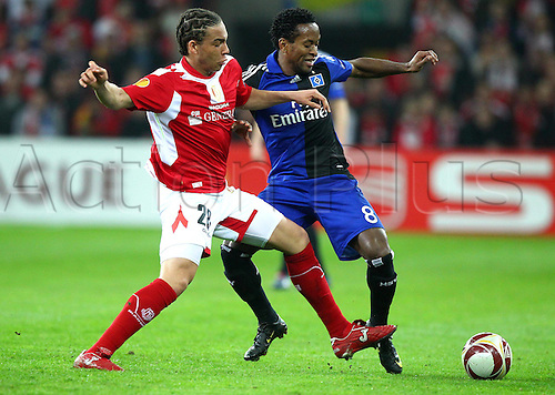 08/04/2010 Europa League Standard Liege v  Hamburg. Axel Witsel of Liege against Hamburgs Ze Roberto.