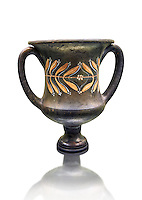 Early 3rd century B.C Etruscan wine Krater, black and overpainted with a leaf design, inv 4382, National Archaeological Museum Florence, Italy, white background