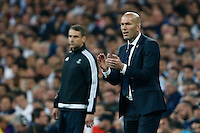 Real Madrid's French coach Zinedine Zidane during the UEFA Champions League match between Real Madrid and Manchester City at the Santiago Bernabeu Stadium in Madrid, Wednesday, May 4, 2016.