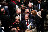 Former VP Dan Quayle, with Former CIA Director Robert Gates with Former CIA Director William Webster walk out behind  there casket of former president George Herbert Walker Bush down the center isle following a memorial ceremony at the National Cathedral in Washington, Wednesday,  Dec.. 5, 2018. <br /> Credit: Doug Mills / Pool via CNP