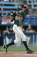 Greensboro Grasshoppers third baseman Ryan Fisher #21 swings at a pitch during the first game of a double header against the Asheville Tourists at McCormick Field on July 26, 2011 in Asheville, North Carolina. Asheville won the game 12-4.   (Tony Farlow/Four Seam Images)