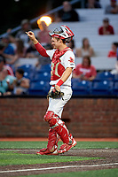 Johnson City Cardinals catcher Zach Jackson (15) signals to the defense during a game against the Danville Braves on July 28, 2018 at TVA Credit Union Ballpark in Johnson City, Tennessee.  Danville defeated Johnson City 7-4.  (Mike Janes/Four Seam Images)