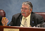 Nevada Sen. Pete Goicoechea, R-Eureka, works in committee at the Legislative Building in Carson City, Nev., on Thursday, April 30, 2015. <br /> Photo by Cathleen Allison