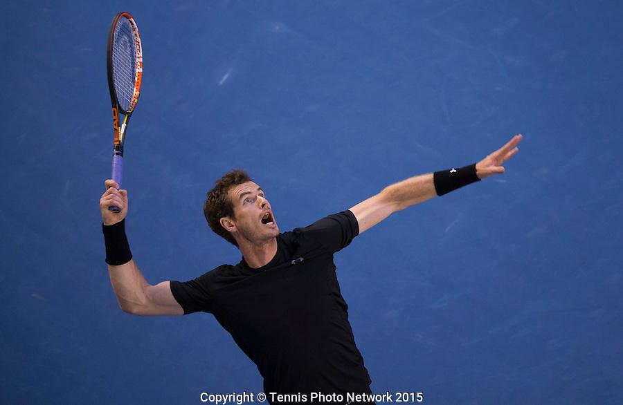 ANDY MURRAY (GBR)<br /> <br /> Tennis - Australian Open 2015 - Grand Slam -  Melbourne Park - Melbourne - Victoria - Australia  - 1 February 2015. <br /> &copy; AMN IMAGES