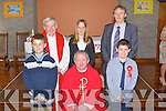 Central NS Ballyduff pupils who made their confirmation in St Peter and Pauls Church, Ballyduff on Monday by Fr Tadgh Fitzgerald assisted by Fr Brendan Walsh PP Causeway/Ballyduff, Front l-r: Niamh Walsh, Niamh Burke, Fr Tadgh Fitzgerald, Katelyn O'Connor and Aoife Allen. Back l-r: Jasmin Griffin, Donal Lynch, Eric Kennelly, Sophie Flynn, Fr Brendan Walsh and Martina Rochford (Teacher).