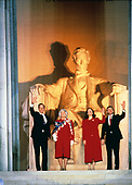 United States President-elect George H.W. Bush attends the opening ceremony for his inauguration at the Lincoln Memorial in Washington, DC on January 18 1989.  From left to right: President-elect Bush, Barbara Bush, Marilyn Quayle, and US Vice President-elect Dan Quayle.<br /> Credit: Robert Trippett / Pool via CNP