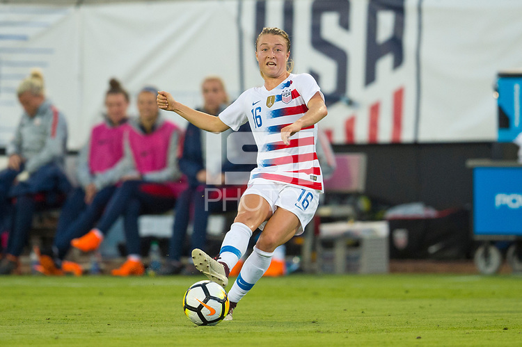Jacksonville, FL - Thursday, April 05, 2018: Emily Sonnett during a friendly match between USA and Mexico at EverBank Stadium.  USA defeated Mexico 4-1.