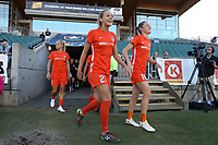 Cary, North Carolina  - Saturday September 09, 2017: Cami Privett, Janine Beckie prior to a regular season National Women's Soccer League (NWSL) match between the North Carolina Courage and the Houston Dash at Sahlen's Stadium at WakeMed Soccer Park. The Courage won the game 1-0.