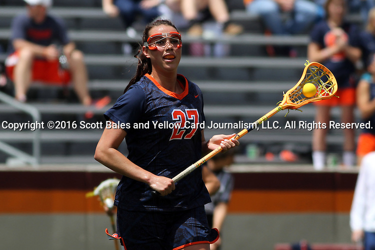 01 May 2016: Syracuse's Kelly Cross. The University of North Carolina Tar Heels played the Syracuse University Orange at Lane Stadium in Blacksburg, Virginia in the 2016 Atlantic Coast Conference Women's Lacrosse Tournament championship match. North Carolina won 15-14 in overtime.