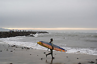 Danilo Couto on shore before paddling out to the jet ski during the first round of the 2008 Mavericks Surf Contest in Half Moon Bay, Calif., Saturday, January 12, 2008...Photo by David Calvert/isiphotos.com