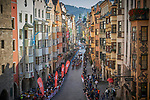 Passing through Innsbruck during the Women Elite Road Race of the 2018 UCI Road World Championships running 156.2km from Kufstein to Innsbruck, Innsbruck-Tirol, Austria 2018. 29th September 2018.<br /> Picture: Innsbruck-Tirol 2018 | Cyclefile<br /> <br /> <br /> All photos usage must carry mandatory copyright credit (&copy; Cyclefile | Innsbruck-Tirol 2018)