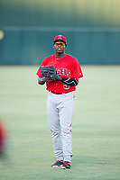 AZL Angels center fielder Johan Sala (5) warms up in the outfield prior to the game against the AZL White Sox on August 14, 2017 at Diablo Stadium in Tempe, Arizona. AZL Angels defeated the AZL White Sox 3-2. (Zachary Lucy/Four Seam Images)