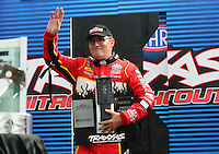Sept. 1, 2012; Claremont, IN, USA: NHRA top fuel dragster driver Doug Kalitta during qualifying for the US Nationals at Lucas Oil Raceway. Mandatory Credit: Mark J. Rebilas-