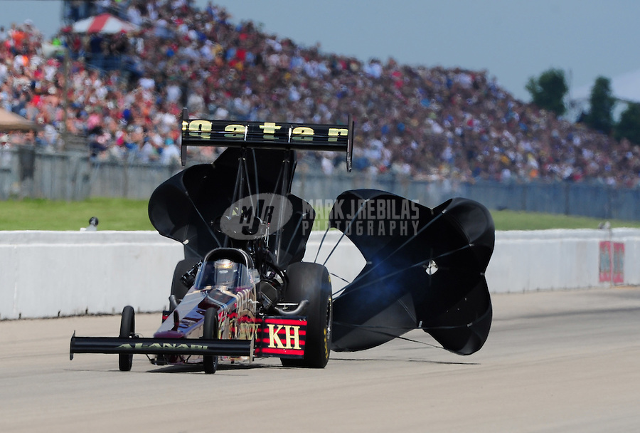 May 21, 2011; Topeka, KS, USA: NHRA top fuel dragster driver Del Worsham during the Summer Nationals at Heartland Park Topeka. Mandatory Credit: Mark J. Rebilas-