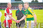 Kevin McCloy, Derry, Referee Maurice Deegan, Toma?s O? Se?, Kerry v Derry, Allianz National Football League, Division 1 Final,  Parnell Park, Dublin. 27th April 2008.   Copyright Kerry's Eye 2008