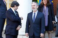 ATENCAO EDITOR FOTO EMBARGADA PARA VEICULO INTERNACIONAL - MADRID - ESPANHA 19 DE NOVEMBRO 2012 - DILMA ROUSSEFF ESPANHA Antonio Patriota (d) acompanha a  presidente da Republica do Brasil, Dilma Rousseff durante encontro com primeiro ministro Mariano Rajoy no Palacio de Moncloa na cidade de Madrid na Espanha na manha desta segunda-feira19. FOTO: ALFAQUI - BRAZIL PHOTO PRESS.