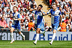 Ellis Harrison of Bristol Rovers (centre) celebrates scoring his team's first goal against Grimsby Town to make it 1-1 during the 2015 Vanarama Conference Promotion Final match between Grimsby Town and Bristol Rovers at Wembley Stadium, London<br /> Picture by David Horn/eXtreme aperture photography +44 7545 970036<br /> 17/05/2015