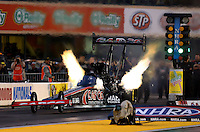 Jul. 26, 2013; Sonoma, CA, USA: NHRA top fuel dragster driver Steve Torrence during qualifying for the Sonoma Nationals at Sonoma Raceway. Mandatory Credit: Mark J. Rebilas-