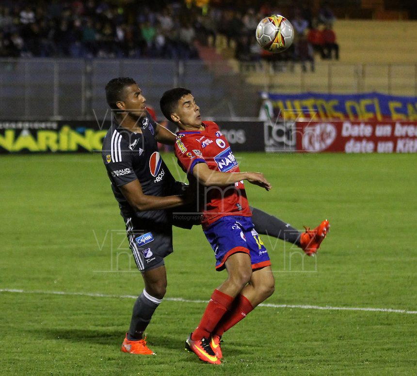 PASTO -COLOMBIA, 5-09-2016.Acción de juego entre Deportivo  Pasto y Millonarios  durante encuentro  por la fecha 3 de la Liga Aguila II 2016 disputado en el estadio La Lbertad./Action game between Deportivo  Pasto and Millonarios  during match for the date 3 of the Aguila League II 2016 played at La Libertad  stadium . Photo:VizzorImage / Leonardo Castro  / Contribuidor