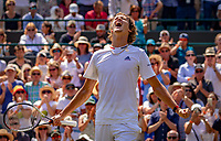 London, England, 6 th. July, 2018, Tennis,  Wimbledon, Man's singel third round, Alexander Zverev (GER) celebrates his win over Fritz (USA)<br /> Photo: Henk Koster/tennisimages.com