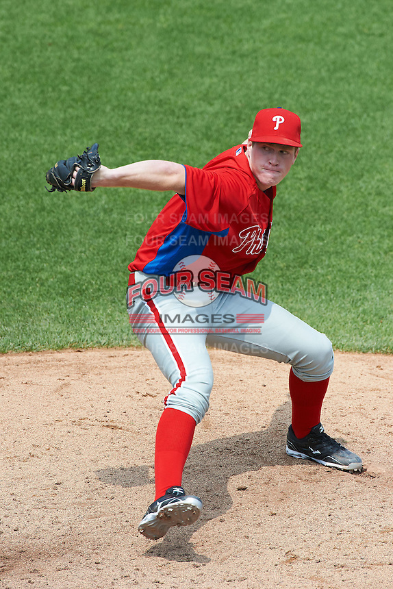 Matthew Crohan #17 of Riverhead School in Jamesport, New York playing for the Philadelphia Phillies scout team during the East Coast Pro Showcase at Alliance Bank Stadium on August 1, 2012 in Syracuse, New York.  (Mike Janes/Four Seam Images)