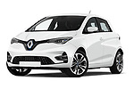 Stock pictures of low aggressive front three quarter view of 2020 Renault ZOE Edition-One 5 Door Hatchback Low Aggressive