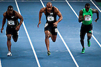 (L_R)  Nesta Carter from Jamaica, Asafa Powell from Jamaica and Daniel Bailey from ANT, compete at men 50 meter Dash during the U.S open track & Field in the madison Square Garden in New York, United States. 28/01/2012. Photo by Kena Betancur / viewpress