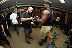 Wake Forest Demon Deacons rehabilitation coordinator/ assistant athletic trainer Niles Fleet wraps the fingers of defensive lineman Dion Bergan (53) prior to the game against the Towson Tigers at BB&T Field on September 8, 2018 in Winston-Salem, North Carolina. The Demon Deacons defeated the Tigers 51-20. (Brian Westerholt/Sports On Film)