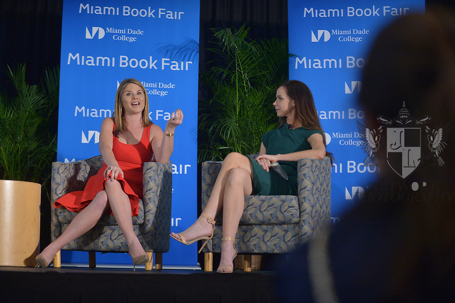 MIAMI, FL - NOVEMBER 16: Jenna Bush Hagar and Barbara Pierce Bush in conversation with Sheli Muniz at The Miami Book Fair at Miami Dade College Wolfson - Chapman Conference Center on November 16, 2017 in Miami, Florida. ( Photo by Johnny Louis / jlnphotography.com )
