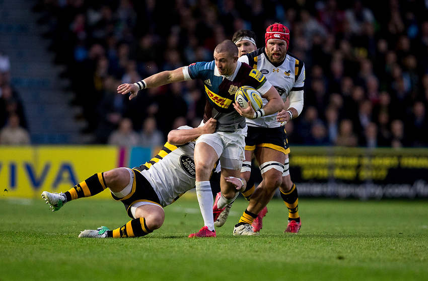 Harlequins' Mike Brown in action during todays match<br /> <br /> Photographer Bob Bradford/CameraSport<br /> <br /> Aviva Premiership - Harlequins v Wasps - Friday April 28 2017 - The Stoop - London<br /> <br /> World Copyright &copy; 2017 CameraSport. All rights reserved. 43 Linden Ave. Countesthorpe. Leicester. England. LE8 5PG - Tel: +44 (0) 116 277 4147 - admin@camerasport.com - www.camerasport.com