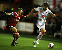 Blackpool's Andy Taylor gets away from Accrington Stanley's Scott Brown<br /> <br /> Photographer Alex Dodd/CameraSport<br /> <br /> EFL Checkatrade Trophy - Northern Section Group B - Accrington Stanley v Blackpool - Tuesday 3rd October 2017 - Crown Ground - Accrington<br />  <br /> World Copyright &copy; 2018 CameraSport. All rights reserved. 43 Linden Ave. Countesthorpe. Leicester. England. LE8 5PG - Tel: +44 (0) 116 277 4147 - admin@camerasport.com - www.camerasport.com
